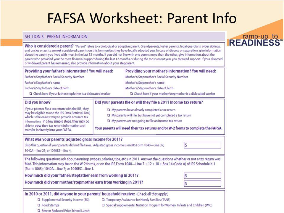 Complete Your FAFSA Application High School Financial Literacy 4 – Fafsa Worksheet