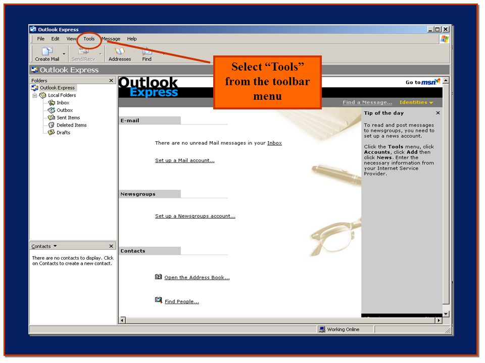 Select Tools from the toolbar menu