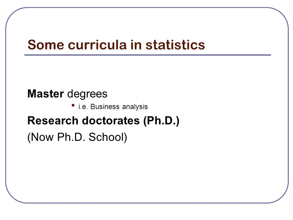 Some curricula in statistics Master degrees i.e.