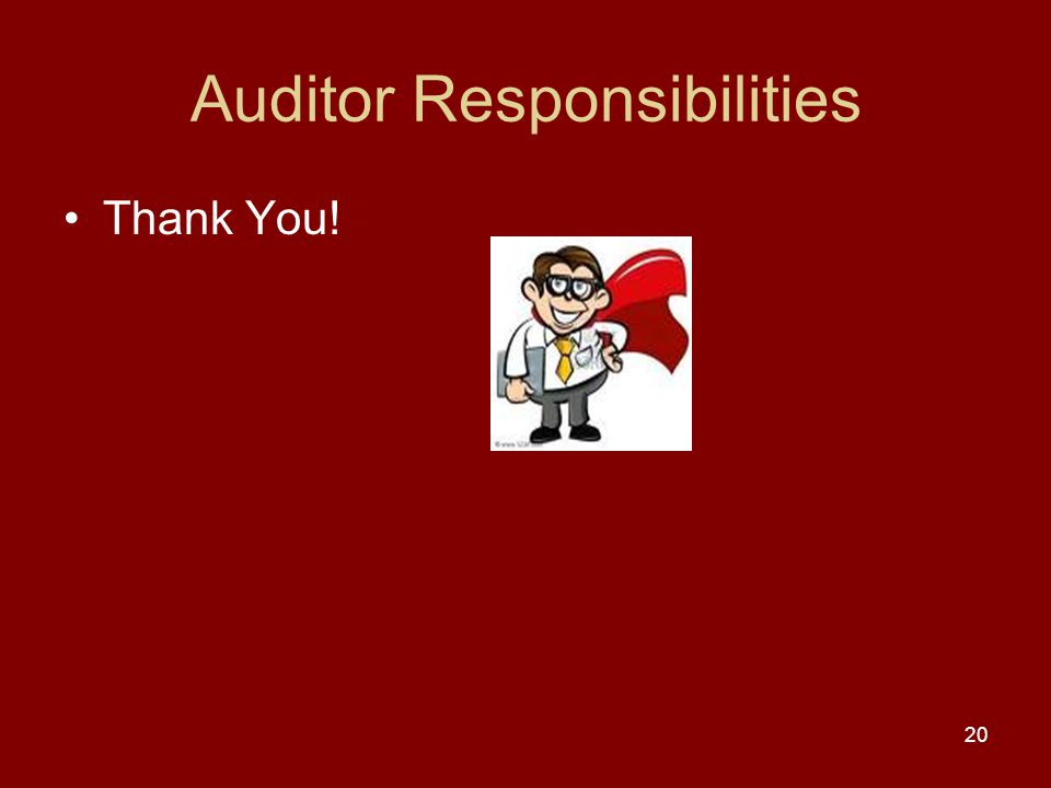 Auditor Responsibilities Thank You! 20