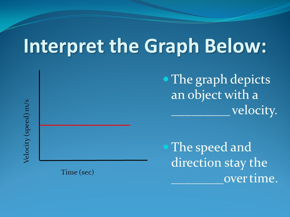 Interpret the Graph Below: The graph depicts an object with a _________ velocity.