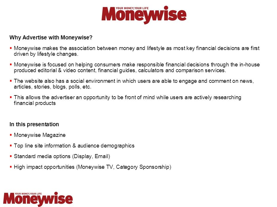 Why Advertise with Moneywise.
