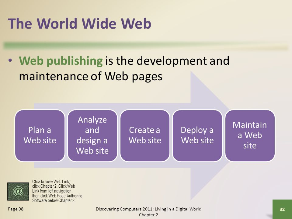 The World Wide Web Web publishing is the development and maintenance of Web pages Discovering Computers 2011: Living in a Digital World Chapter 2 32 Page 98 Plan a Web site Analyze and design a Web site Create a Web site Deploy a Web site Maintain a Web site Click to view Web Link, click Chapter 2, Click Web Link from left navigation, then click Web Page Authoring Software below Chapter 2