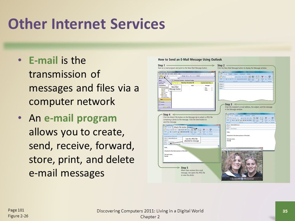 Other Internet Services  is the transmission of messages and files via a computer network An  program allows you to create, send, receive, forward, store, print, and delete  messages Discovering Computers 2011: Living in a Digital World Chapter 2 35 Page 101 Figure 2-26