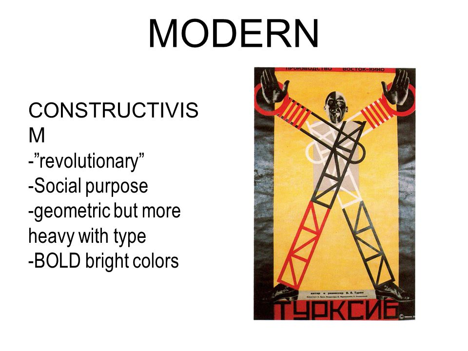 MODERN CONSTRUCTIVIS M - revolutionary -Social purpose -geometric but more heavy with type -BOLD bright colors