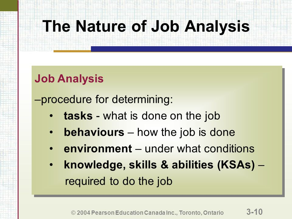 © 2004 Pearson Education Canada Inc., Toronto, Ontario 3-10 The Nature of Job Analysis Job Analysis –procedure for determining: tasks - what is done on the job behaviours – how the job is done environment – under what conditions knowledge, skills & abilities (KSAs) – required to do the job Job Analysis –procedure for determining: tasks - what is done on the job behaviours – how the job is done environment – under what conditions knowledge, skills & abilities (KSAs) – required to do the job