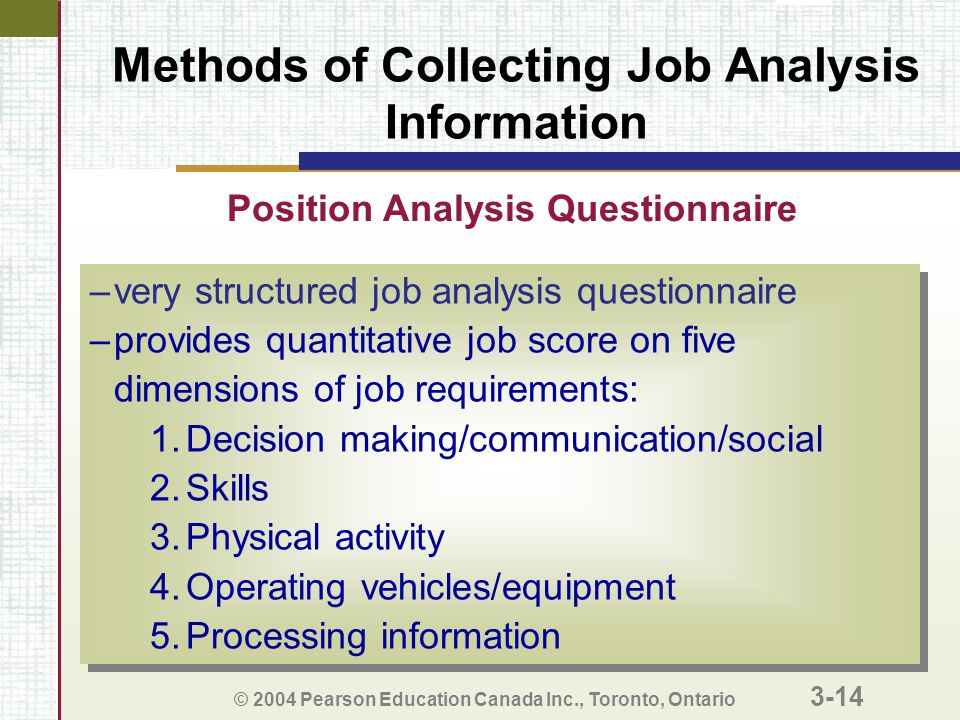 © 2004 Pearson Education Canada Inc., Toronto, Ontario 3-14 Methods of Collecting Job Analysis Information –very structured job analysis questionnaire –provides quantitative job score on five dimensions of job requirements: 1.Decision making/communication/social 2.Skills 3.Physical activity 4.Operating vehicles/equipment 5.Processing information –very structured job analysis questionnaire –provides quantitative job score on five dimensions of job requirements: 1.Decision making/communication/social 2.Skills 3.Physical activity 4.Operating vehicles/equipment 5.Processing information Position Analysis Questionnaire