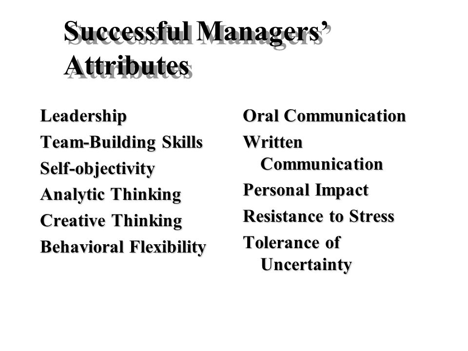 Successful Managers' Attributes Leadership Team-Building Skills Self-objectivity Analytic Thinking Creative Thinking Behavioral Flexibility Oral Commu