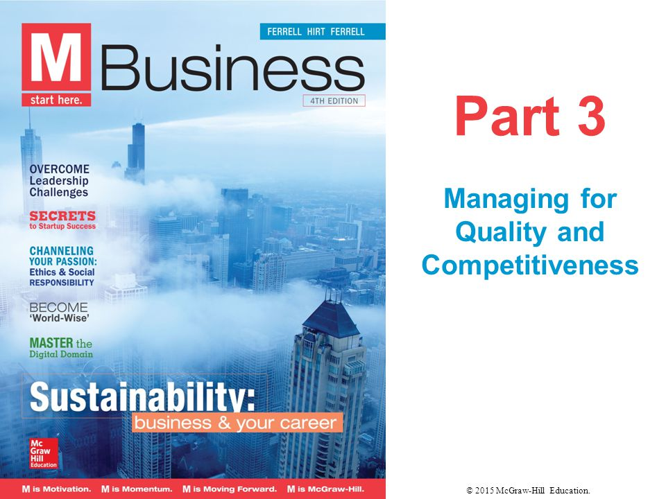 Part 3 Managing for Quality and Competitiveness © 2015 McGraw-Hill Education.