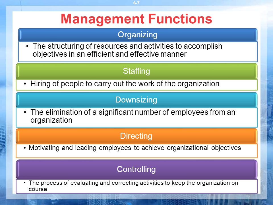 Management Functions 6-7 Organizing The structuring of resources and activities to accomplish objectives in an efficient and effective manner Staffing Hiring of people to carry out the work of the organization Downsizing The elimination of a significant number of employees from an organization Directing Motivating and leading employees to achieve organizational objectives Controlling The process of evaluating and correcting activities to keep the organization on course