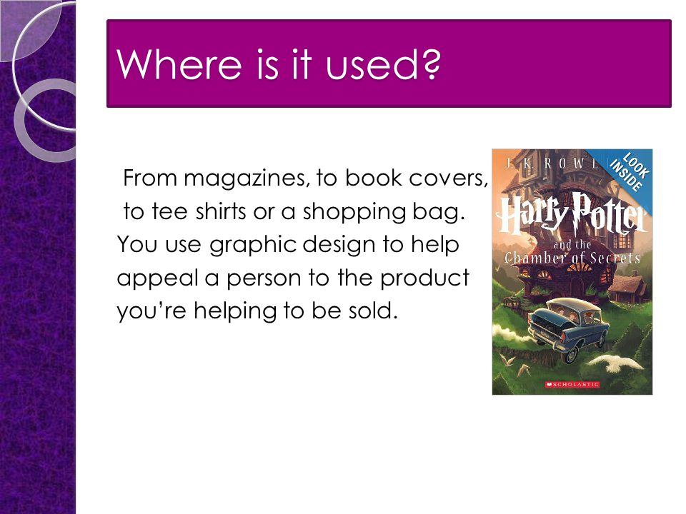 Where is it used. From magazines, to book covers, to tee shirts or a shopping bag.
