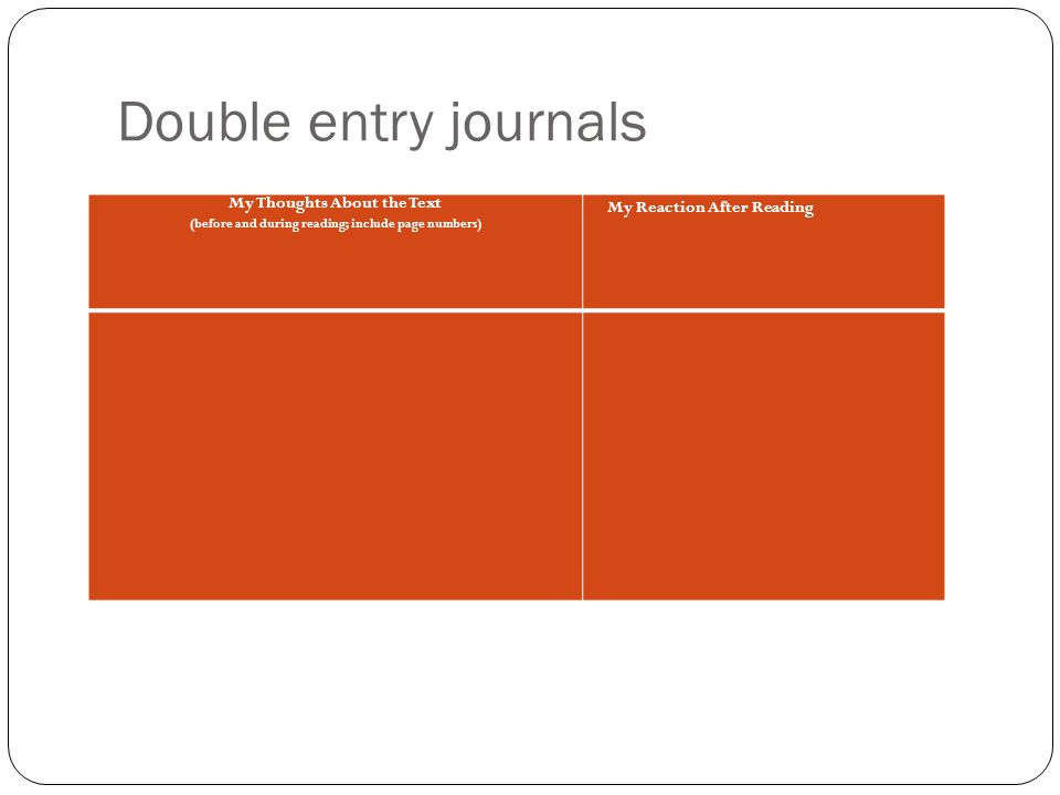 Double entry journals My Thoughts About the Text (before and during reading; include page numbers) My Reaction After Reading