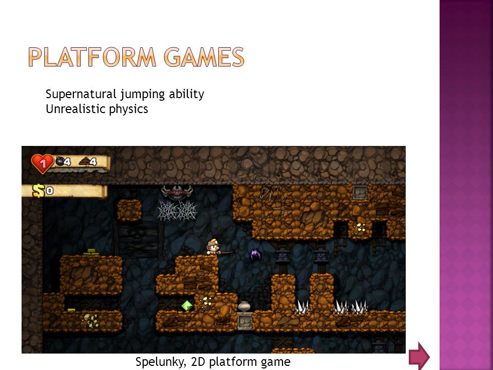 Spelunky, 2D platform game Supernatural jumping ability Unrealistic physics