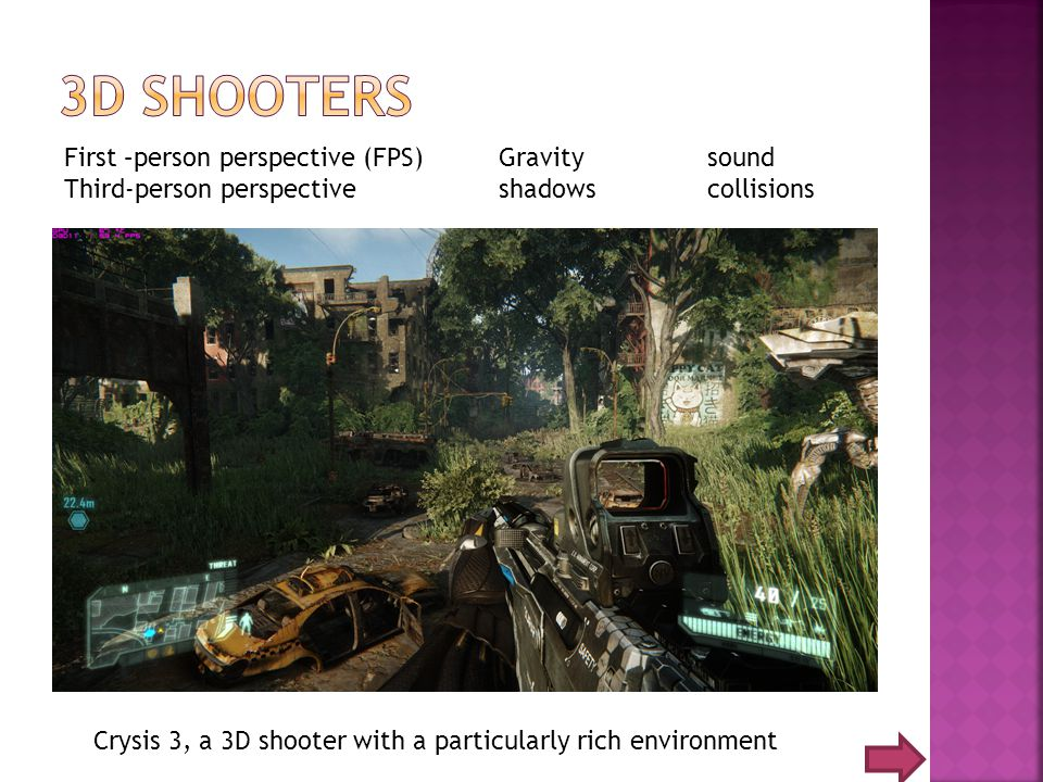Crysis 3, a 3D shooter with a particularly rich environment First –person perspective (FPS) Third-person perspective Gravity sound shadows collisions