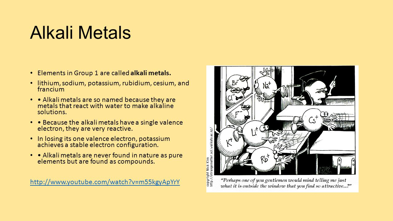 Alkali metals elements in group 1 are called alkali metals ppt lithium sodium potassium rubidium cesium and francium alkali metals are so named because they are metals that react with water to make gamestrikefo Image collections