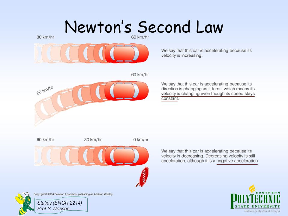 Statics (ENGR 2214) Prof S. Nasseri Newton's Second Law