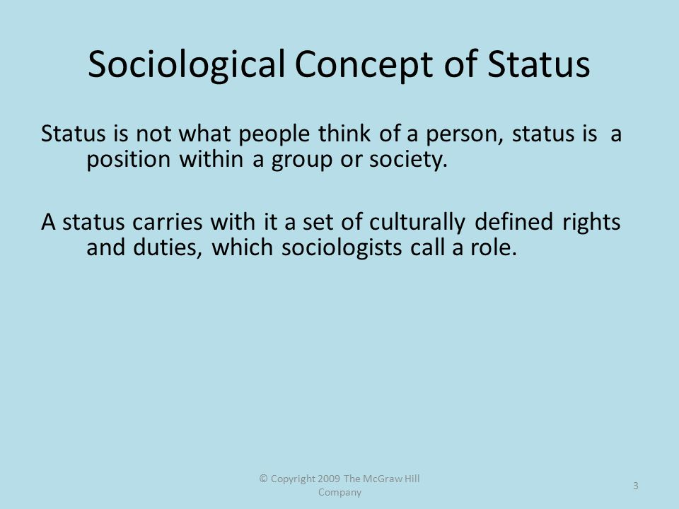 © Copyright 2009 The McGraw Hill Company 3 Sociological Concept of Status Status is not what people think of a person, status is a position within a g