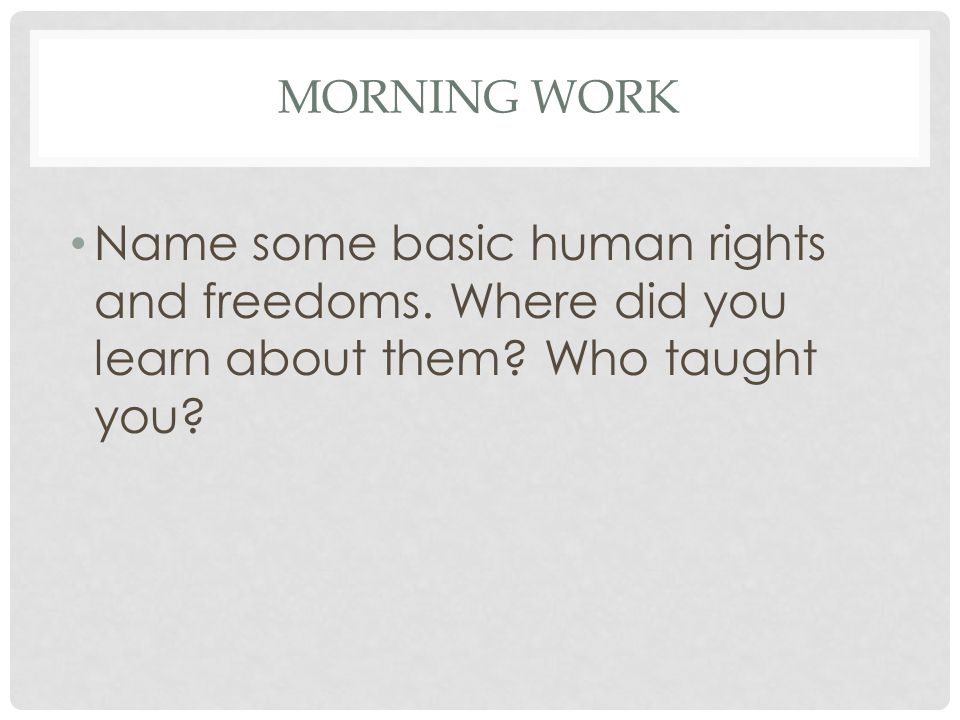 MORNING WORK Name some basic human rights and freedoms.