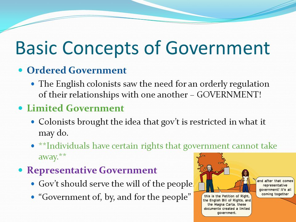 Basic Concepts of Government Ordered Government The English colonists saw the need for an orderly regulation of their relationships with one another – GOVERNMENT.