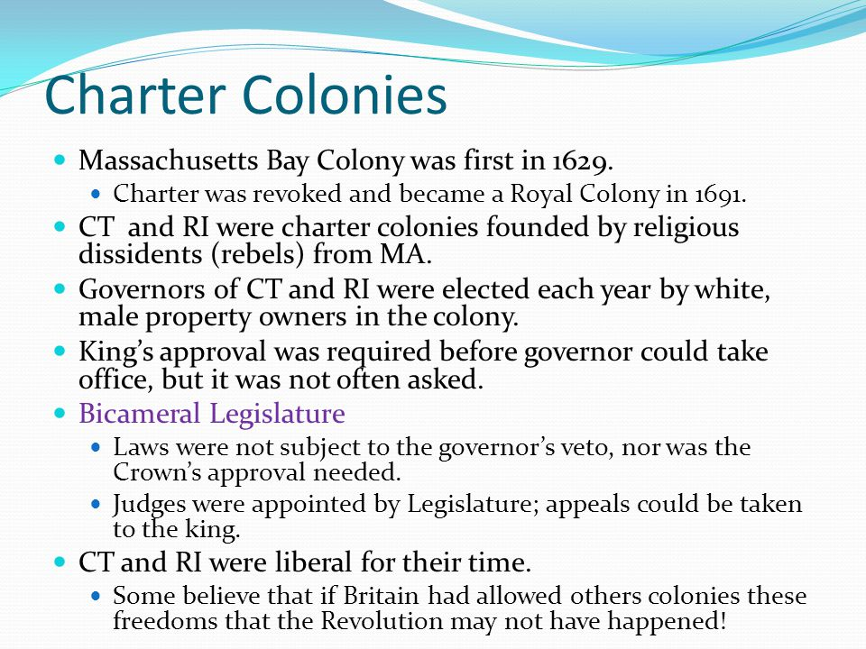 Charter Colonies Massachusetts Bay Colony was first in 1629.
