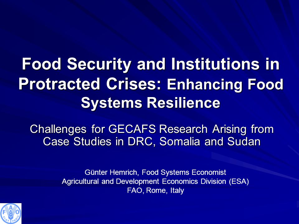 Food Security and Institutions in Protracted Crises: Enhancing Food Systems Resilience Challenges for GECAFS Research Arising from Case Studies in DRC, Somalia and Sudan Günter Hemrich, Food Systems Economist Agricultural and Development Economics Division (ESA) FAO, Rome, Italy