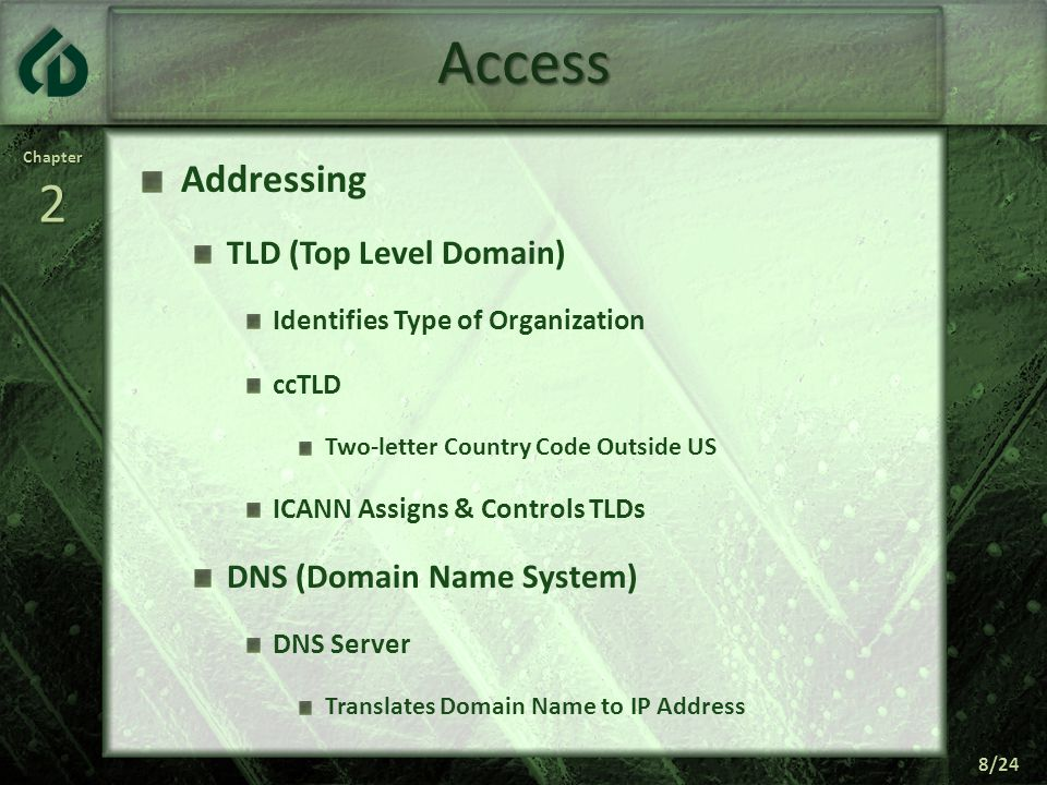 Chapter2 8/24 Access Addressing TLD (Top Level Domain) Identifies Type of Organization ccTLD Two-letter Country Code Outside US ICANN Assigns & Controls TLDs DNS (Domain Name System) DNS Server Translates Domain Name to IP Address