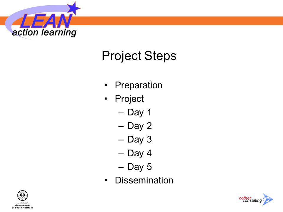 Project Steps Preparation Project –Day 1 –Day 2 –Day 3 –Day 4 –Day 5 Dissemination
