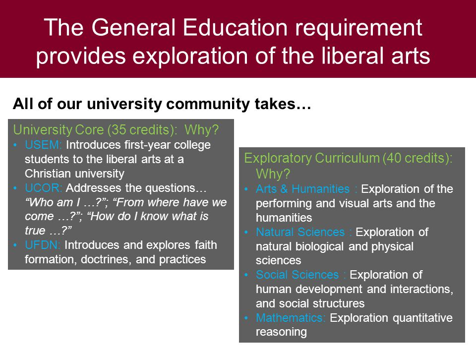 The General Education requirement provides exploration of the liberal arts All of our university community takes… University Core (35 credits): Why.