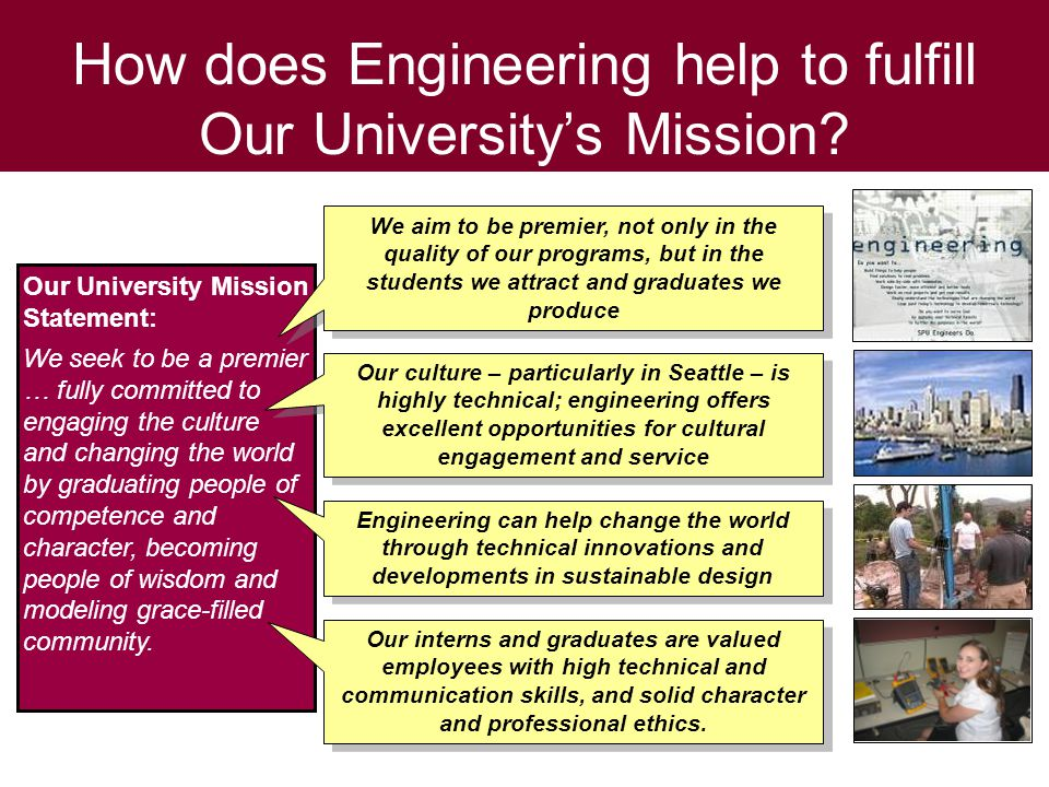 How does Engineering help to fulfill Our University's Mission.