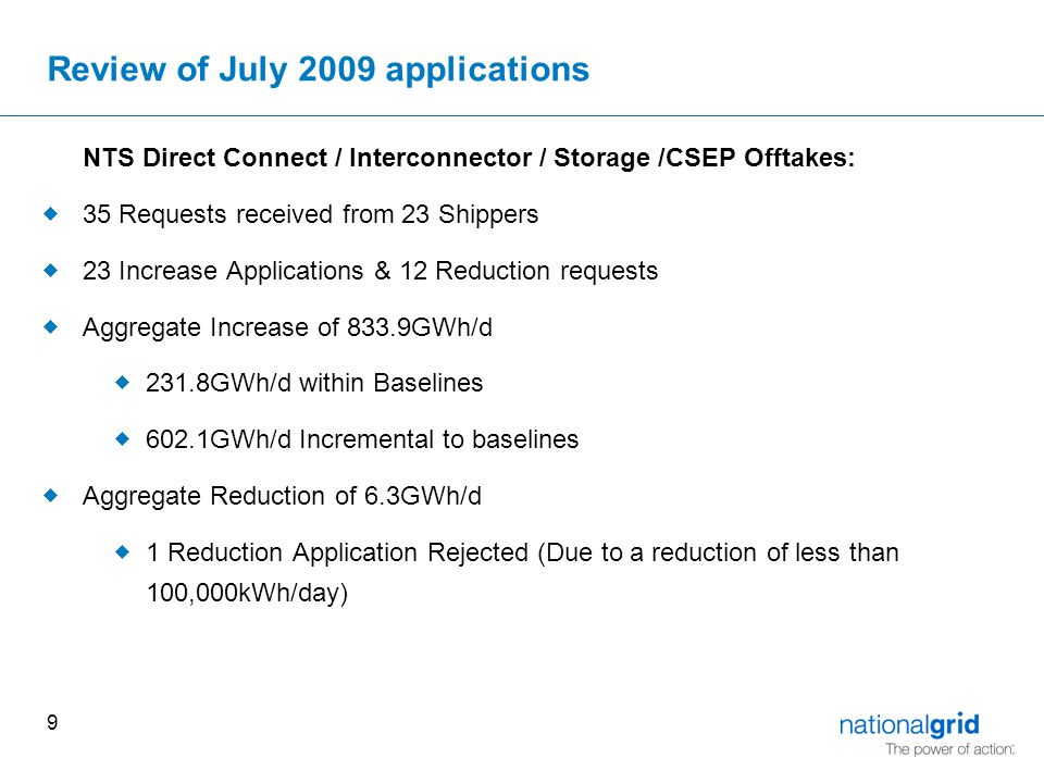 9 Review of July 2009 applications NTS Direct Connect / Interconnector / Storage /CSEP Offtakes:  35 Requests received from 23 Shippers  23 Increase Applications & 12 Reduction requests  Aggregate Increase of 833.9GWh/d  231.8GWh/d within Baselines  602.1GWh/d Incremental to baselines  Aggregate Reduction of 6.3GWh/d  1 Reduction Application Rejected (Due to a reduction of less than 100,000kWh/day)