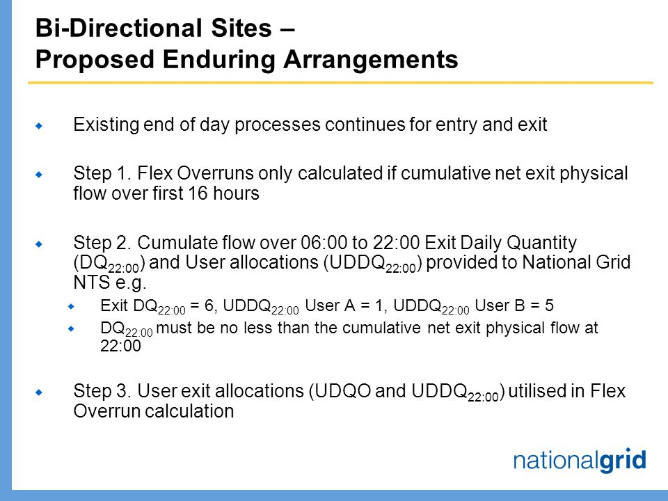 Bi-Directional Sites – Proposed Enduring Arrangements  Existing end of day processes continues for entry and exit  Step 1.