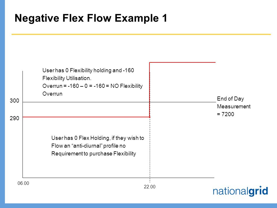 Negative Flex Flow Example End of Day Measurement = User has 0 Flexibility holding and -160 Flexibility Utilisation.