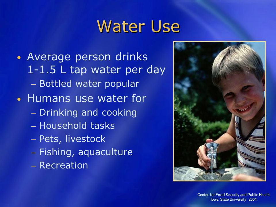 Center for Food Security and Public Health Iowa State University 2004 Water Use Average person drinks L tap water per day − Bottled water popular Humans use water for − Drinking and cooking − Household tasks − Pets, livestock − Fishing, aquaculture − Recreation