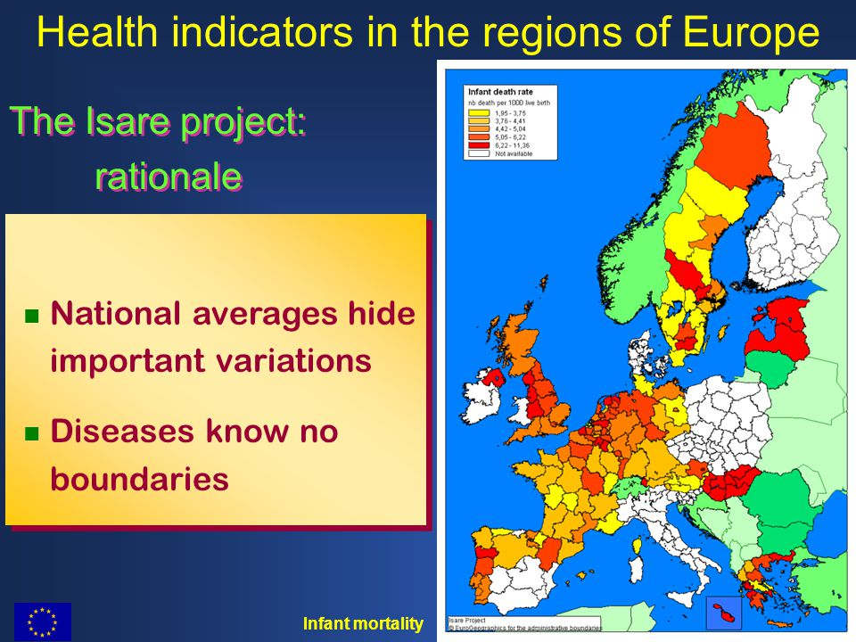 The Isare project: rationale The Isare project: rationale Health indicators in the regions of Europe National averages hide important variations Diseases know no boundaries National averages hide important variations Diseases know no boundaries Infant mortality