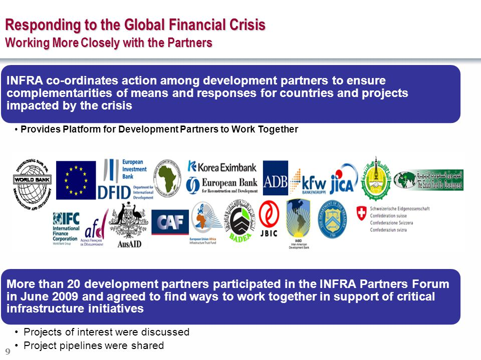 9 INFRA co-ordinates action among development partners to ensure complementarities of means and responses for countries and projects impacted by the crisis Provides Platform for Development Partners to Work Together More than 20 development partners participated in the INFRA Partners Forum in June 2009 and agreed to find ways to work together in support of critical infrastructure initiatives Projects of interest were discussed Project pipelines were shared Responding to the Global Financial Crisis Working More Closely with the Partners