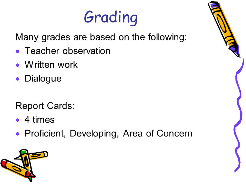 Grading Many grades are based on the following:  Teacher observation  Written work  Dialogue Report Cards:  4 times  Proficient, Developing, Area of Concern