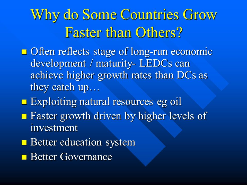 Why do Some Countries Grow Faster than Others.