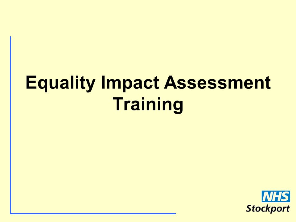 Equality Impact Assessment Training