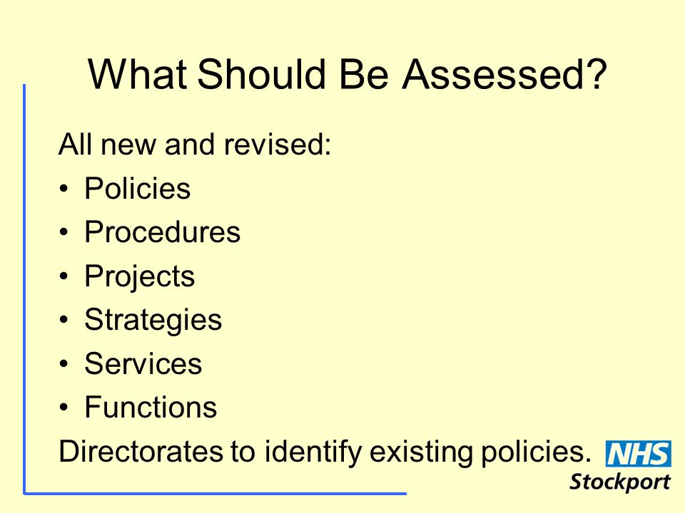 What Should Be Assessed.