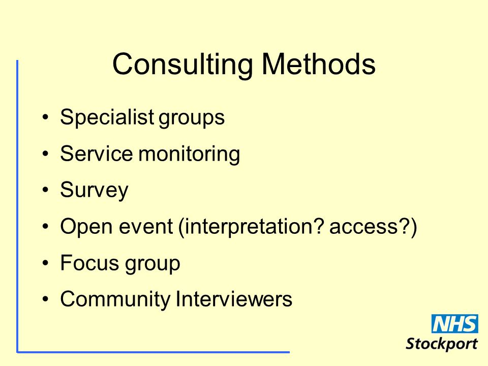Consulting Methods Specialist groups Service monitoring Survey Open event (interpretation.