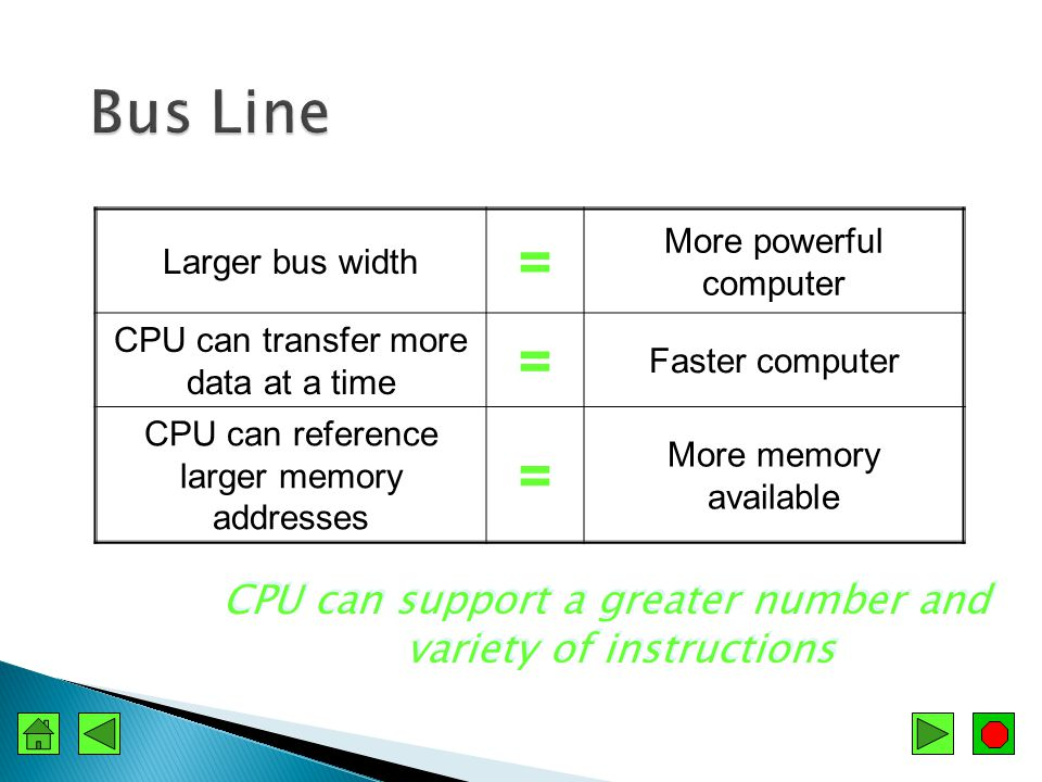  Paths that transport electrical signals  System bus ◦ Transports data between the CPU and memory  Bus width ◦ Number of bits of data that can be carried at a time ◦ Normally the same as the CPUs word size  Speed measured in MHz