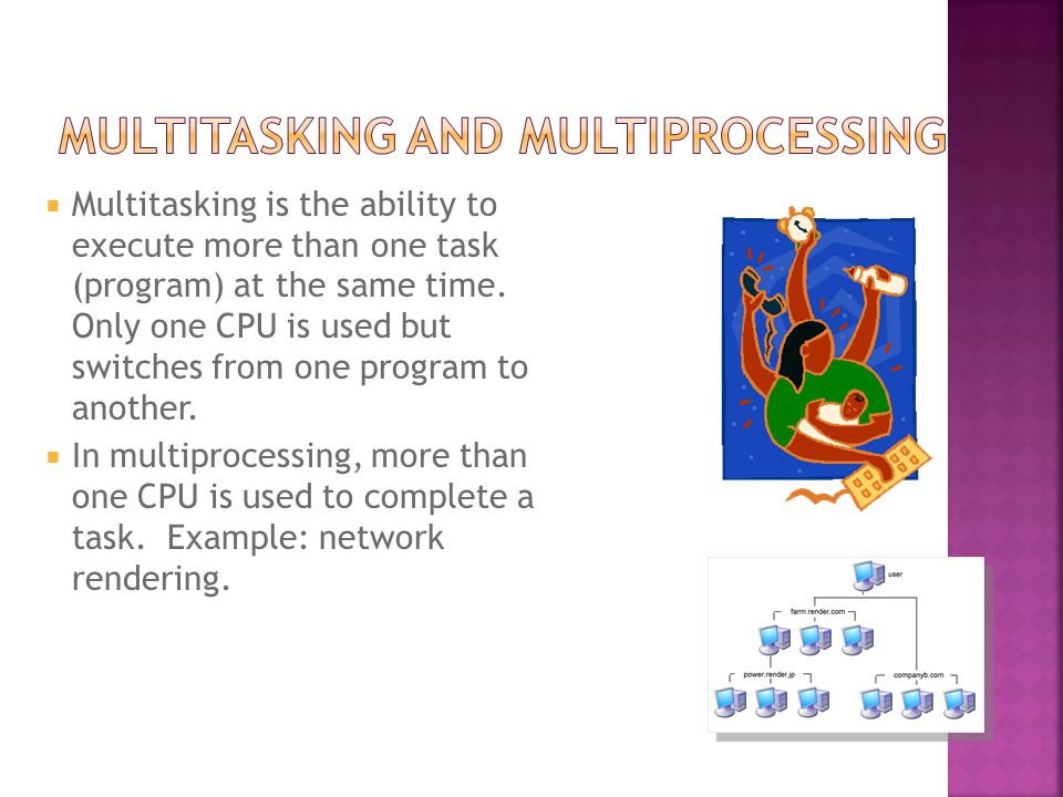  Multitasking is the ability to execute more than one task (program) at the same time.