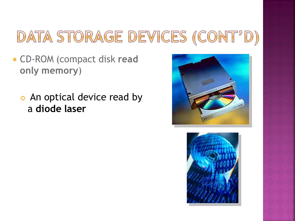  CD-ROM (compact disk read only memory) An optical device read by a diode laser