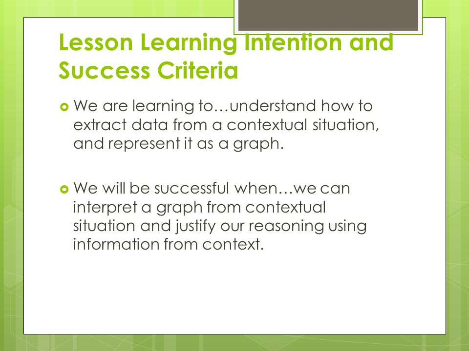 Lesson Learning Intention and Success Criteria  We are learning to…understand how to extract data from a contextual situation, and represent it as a graph.
