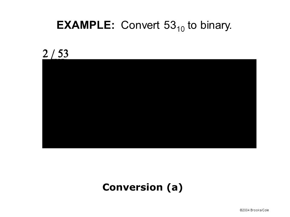 ©2004 Brooks/Cole EXAMPLE: Convert 53 10 to binary. Conversion (a)