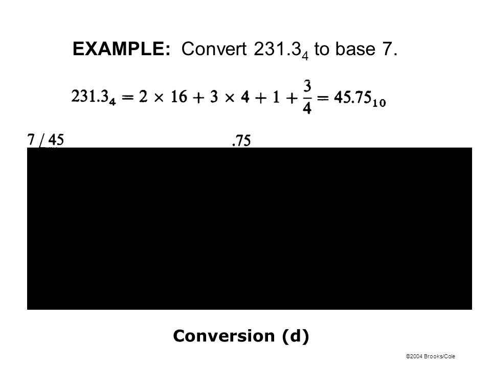 ©2004 Brooks/Cole Conversion (d) EXAMPLE: Convert 231.3 4 to base 7.