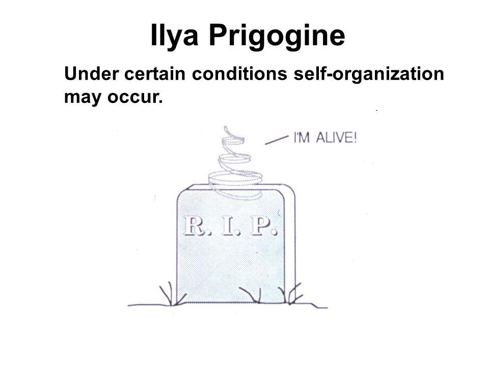 Ilya Prigogine Under certain conditions self-organization may occur.