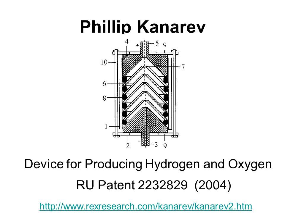 Phillip Kanarev Device for Producing Hydrogen and Oxygen RU Patent 2232829 (2004) http://www.rexresearch.com/kanarev/kanarev2.htm
