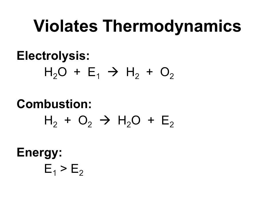 Violates Thermodynamics Electrolysis: H 2 O + E 1  H 2 + O 2 Combustion: H 2 + O 2  H 2 O + E 2 Energy: E 1 > E 2