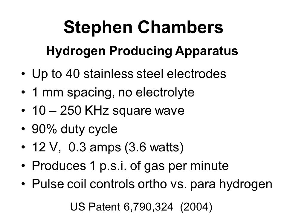 Stephen Chambers Up to 40 stainless steel electrodes 1 mm spacing, no electrolyte 10 – 250 KHz square wave 90% duty cycle 12 V, 0.3 amps (3.6 watts) Produces 1 p.s.i.